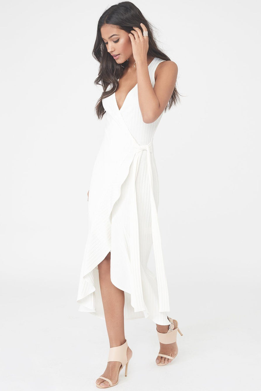 Rib Knit Wrap Front Tiered Drape Front Dress