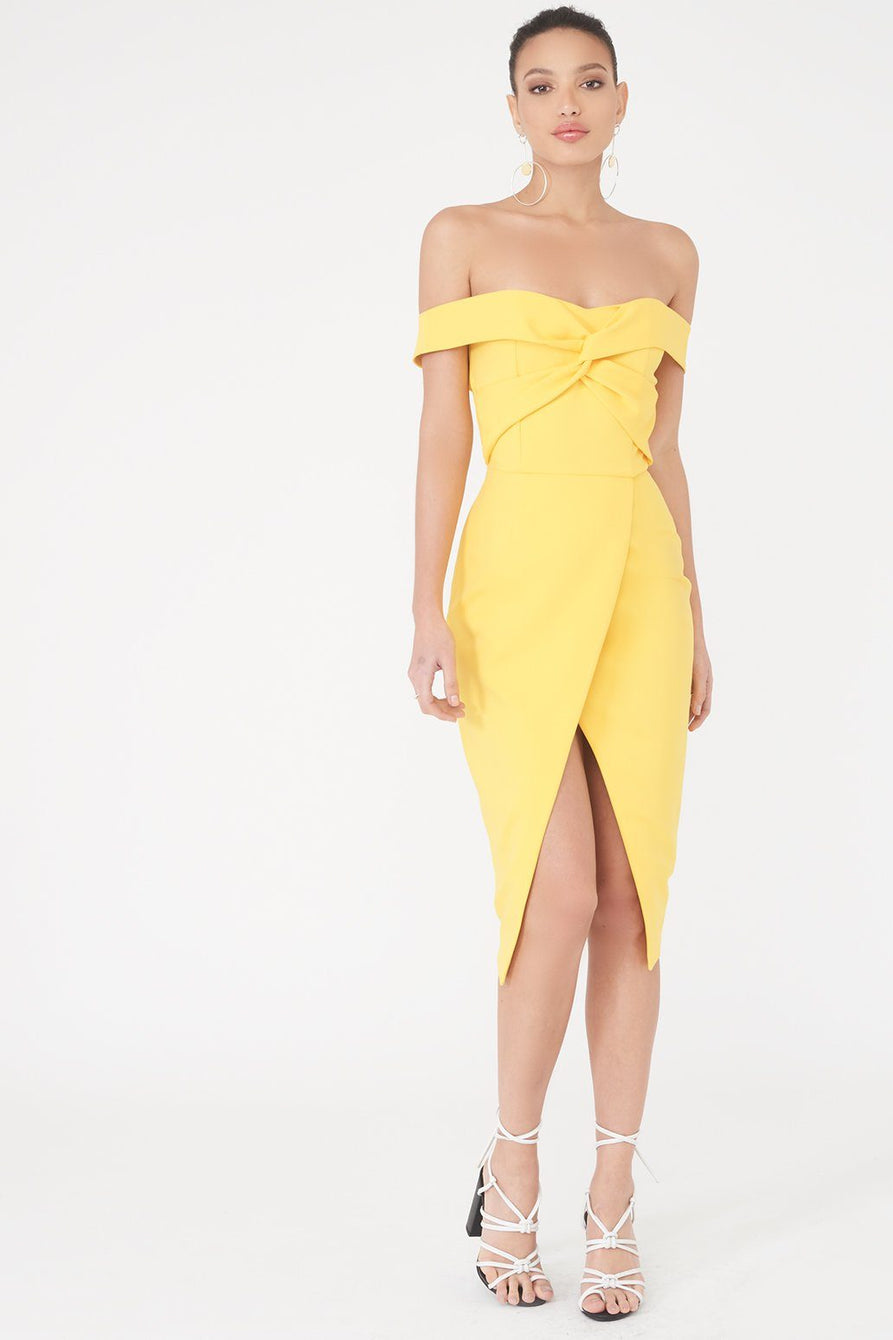 Twisted Off The Shoulder Wrap Midi Dress In Yellow