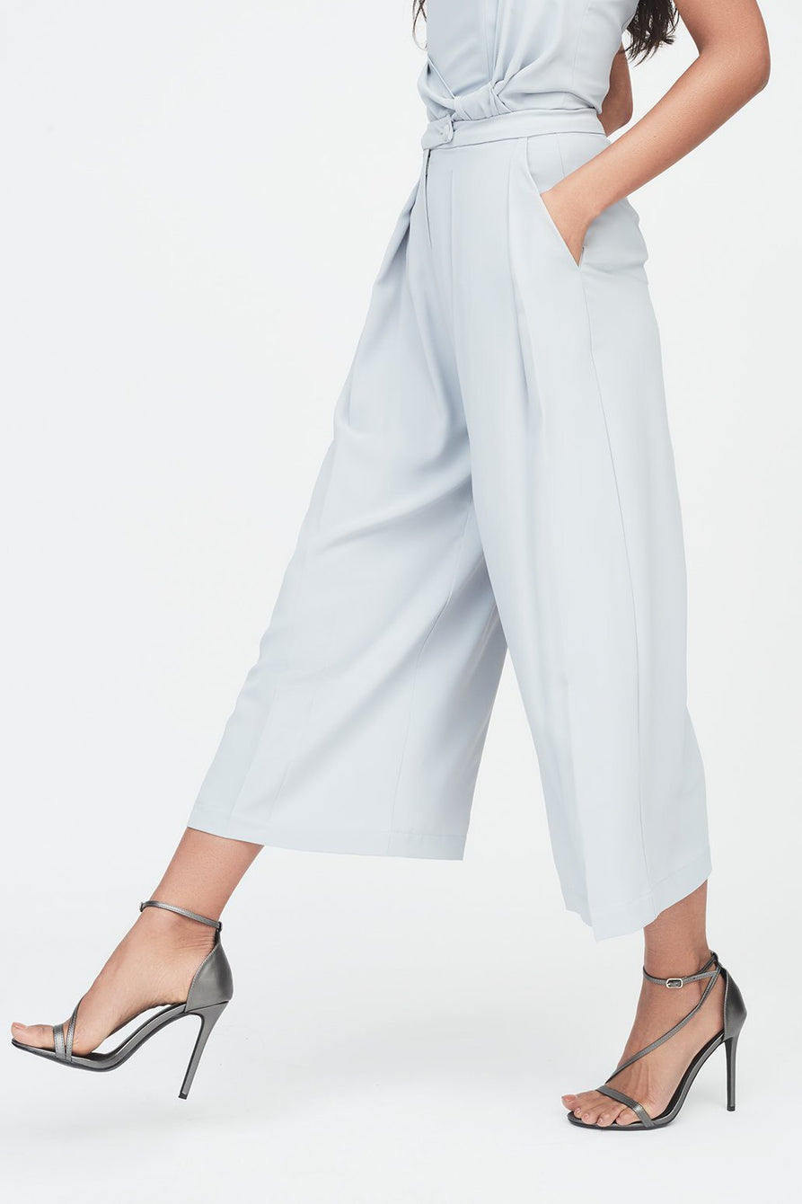 Wide Leg Culotte Trouser with Volume Pleating