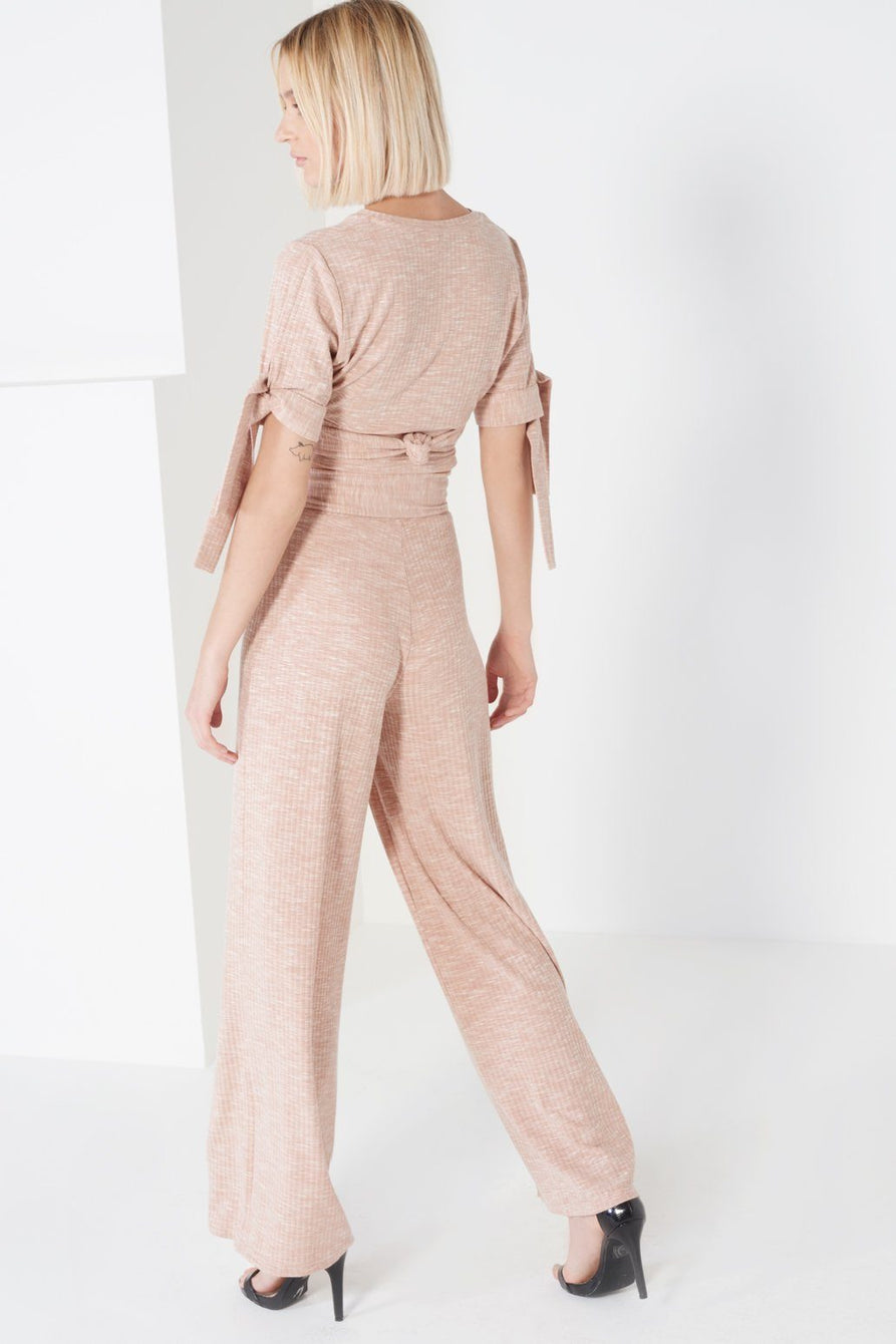 Nude Rib Jersey Metal Trim Tie Detail Wide Leg Trousers