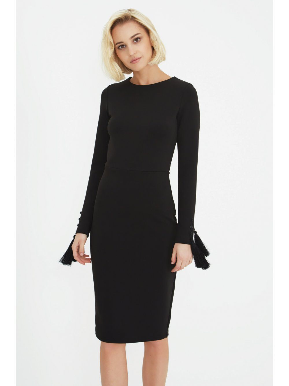 Black Tassel Sleeve Bodycon Midi Dress