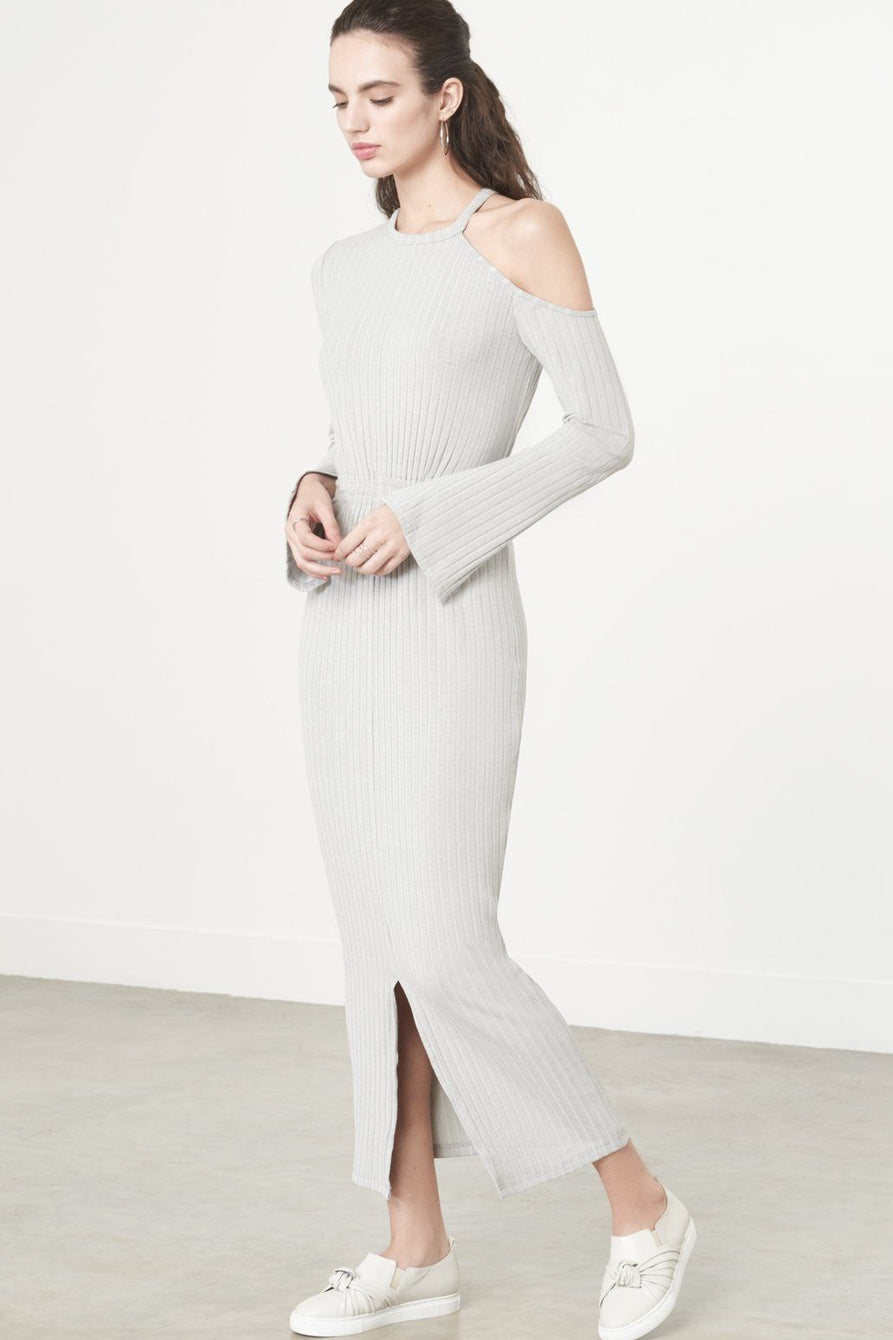 Cutaway Asymmetric Dress in Grey Knit