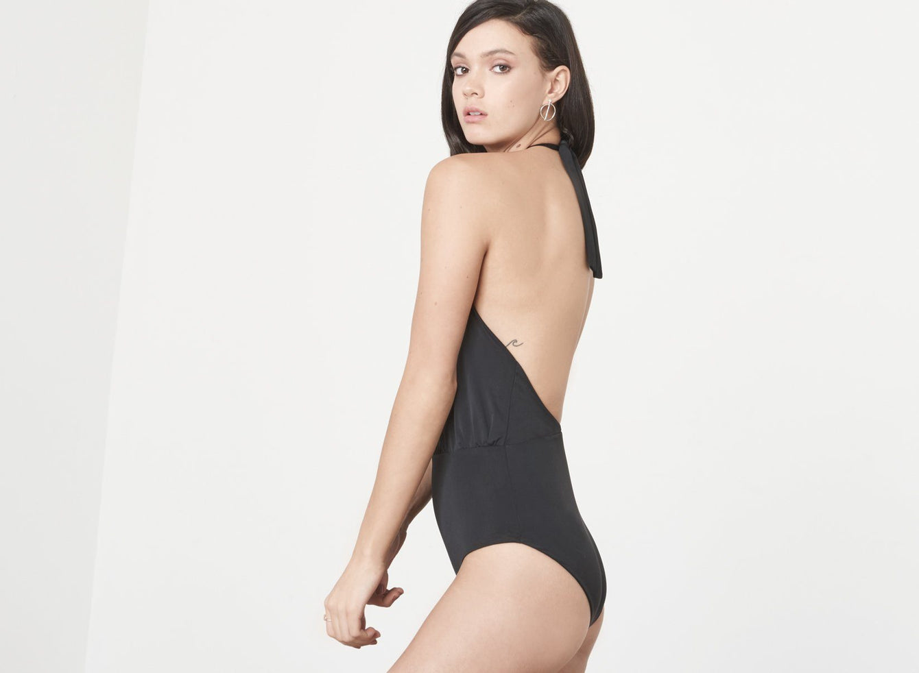 Black Deep Plunge Collar Tie Swimsuit