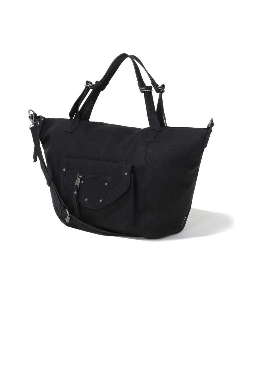 Black Pocket Detail Oversized Bag