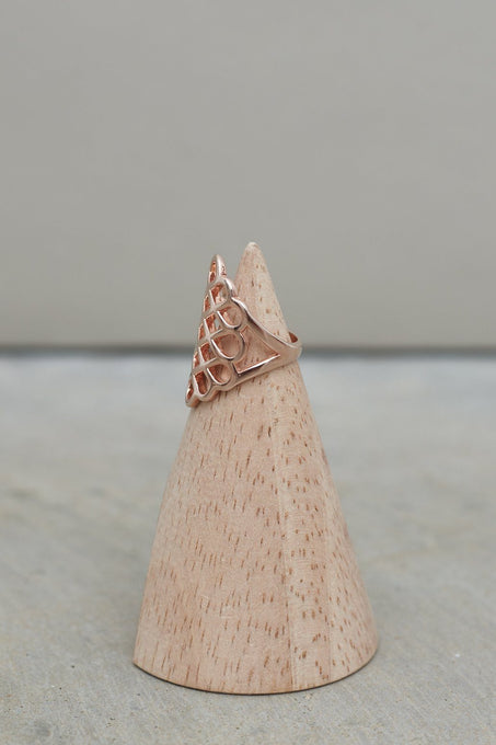 Sterling Silver Rose Gold Plated Oversized Honeycomb Ring