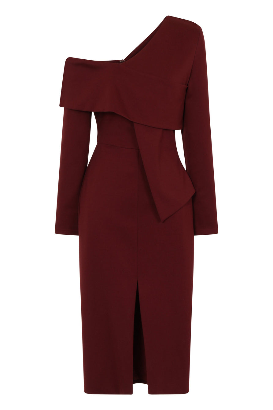Wine Asymmetric Cold Shoulder Midi Dress