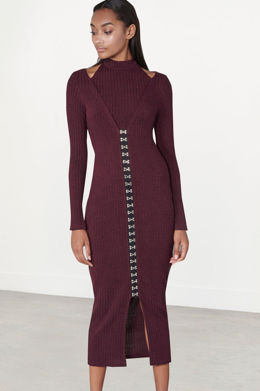 Dark Plum Rib Knit High Neck Hook & Eye Detail Midi Dress