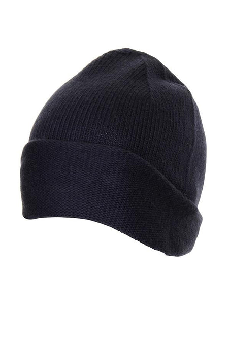 Navy Cashmere Mix Beanie Hat