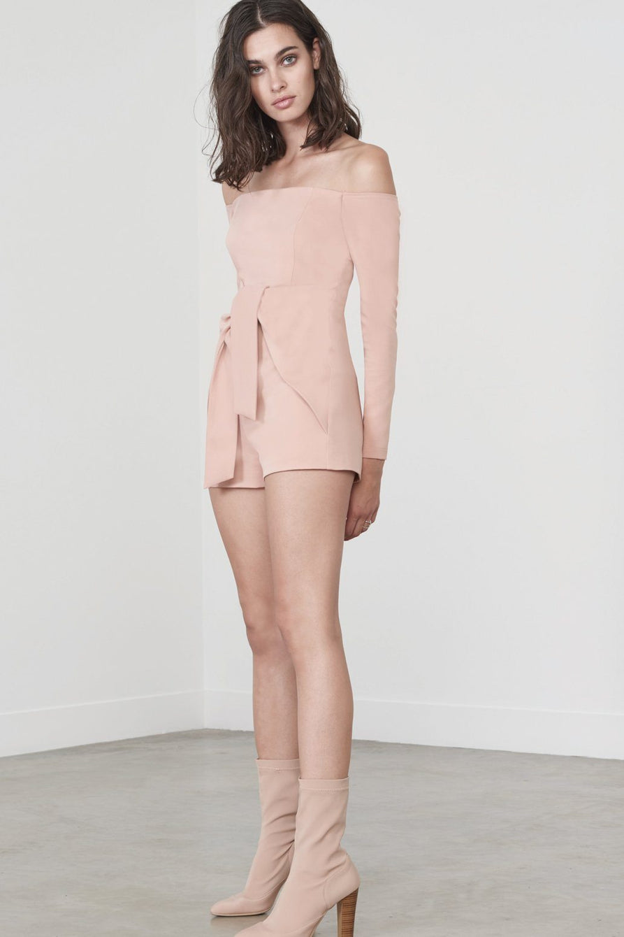Tie Front Cold Shoulder Playsuit in Rose