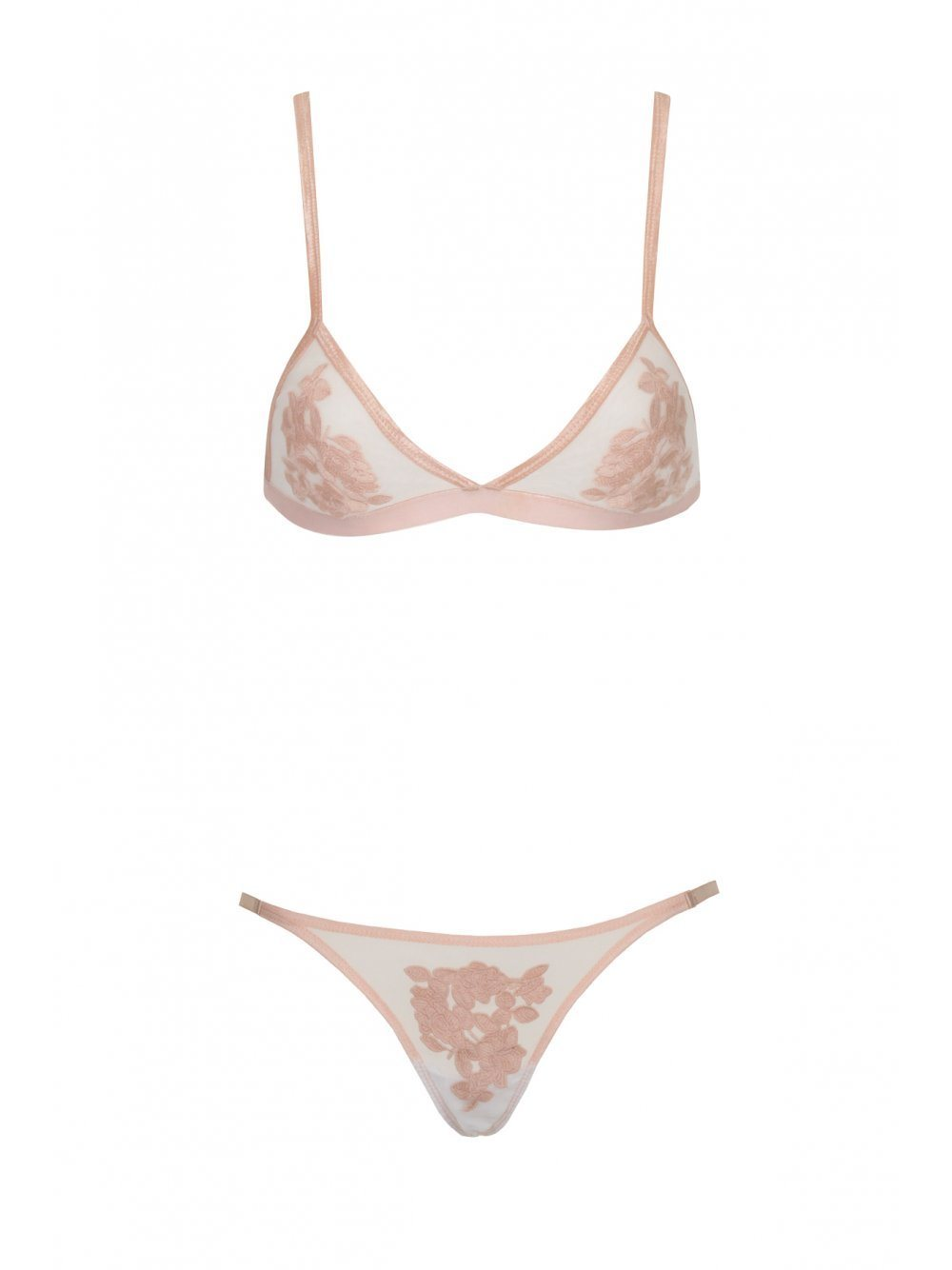 Dusty Pink Floral Embroidered Spot Mesh Bralet