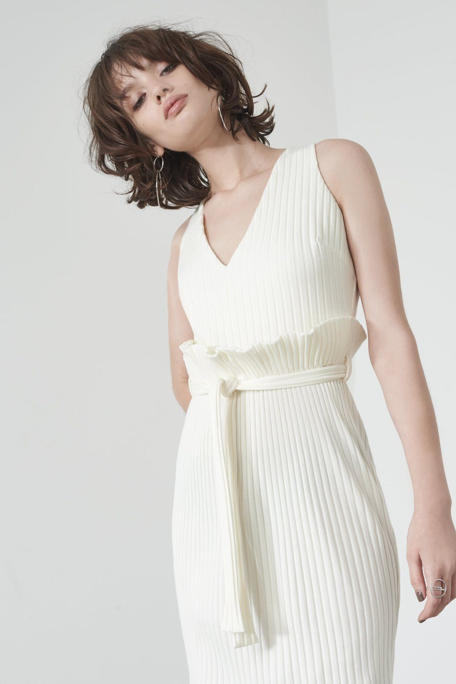 Paperbag Waist Midi Dress in Off White Knit
