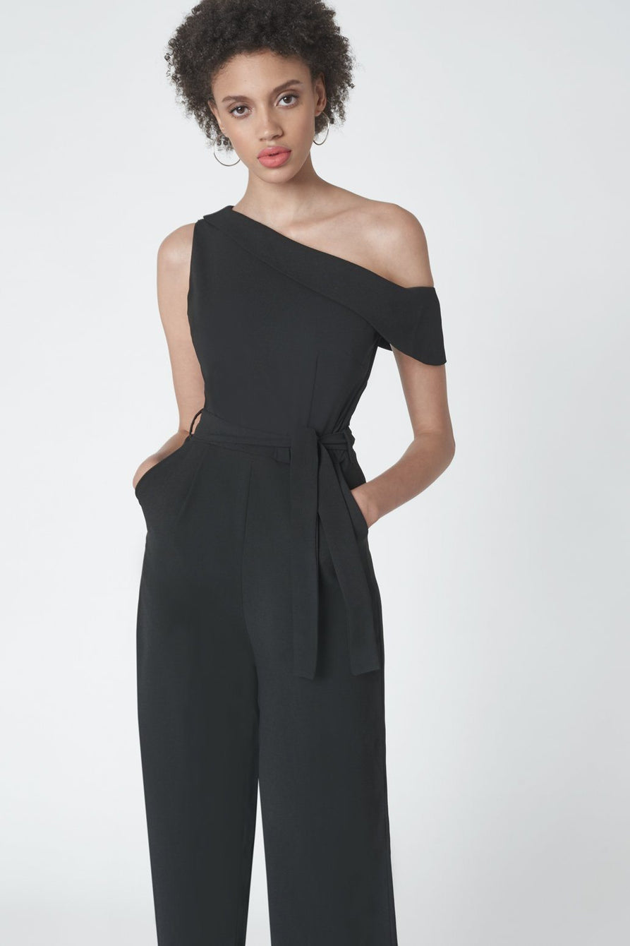 5d4290a8680 Cropped Leg Asymmetric Jumpsuit in Black – Lavish Alice