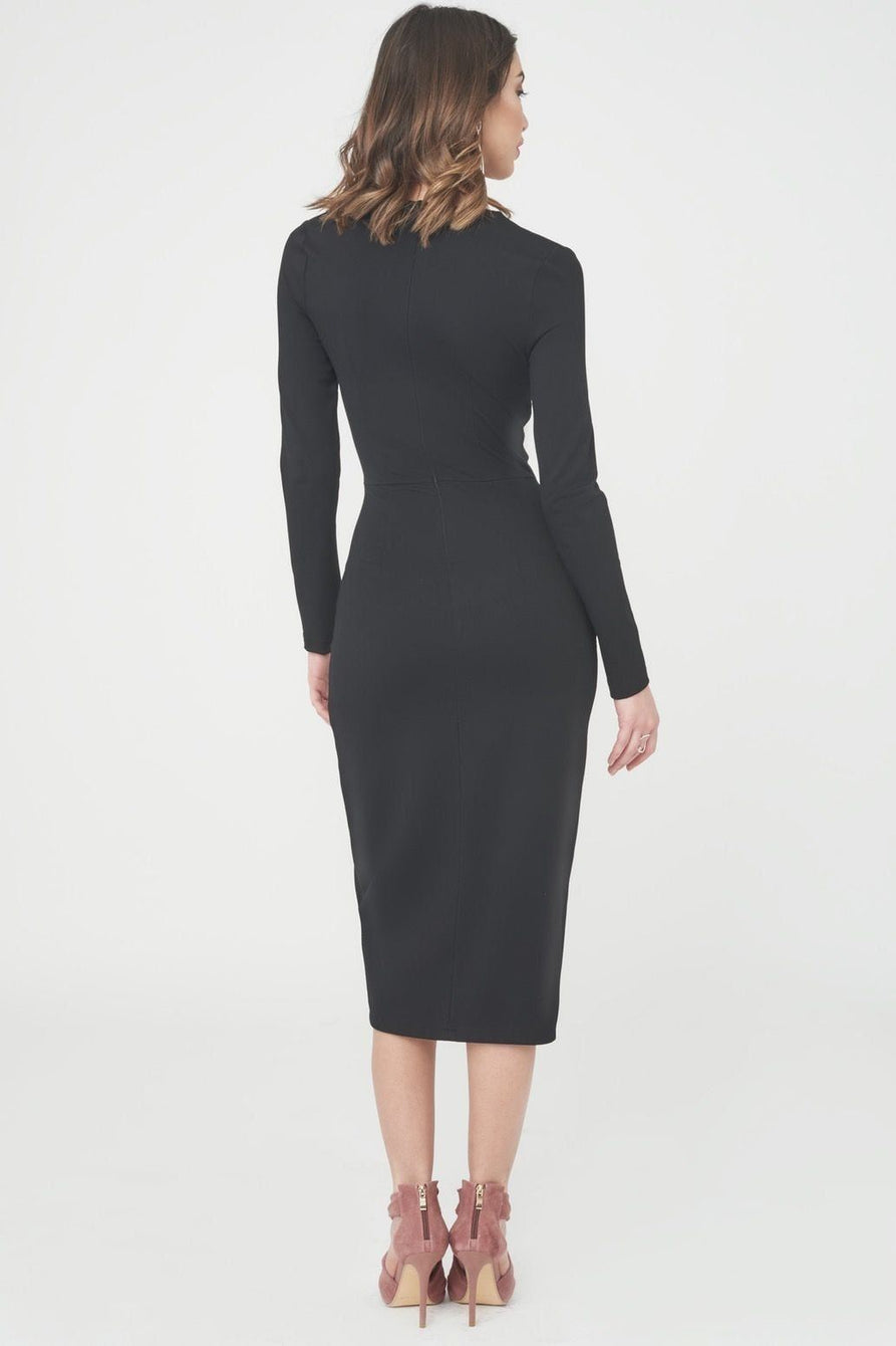 Asymmetric Neck Midi Dress