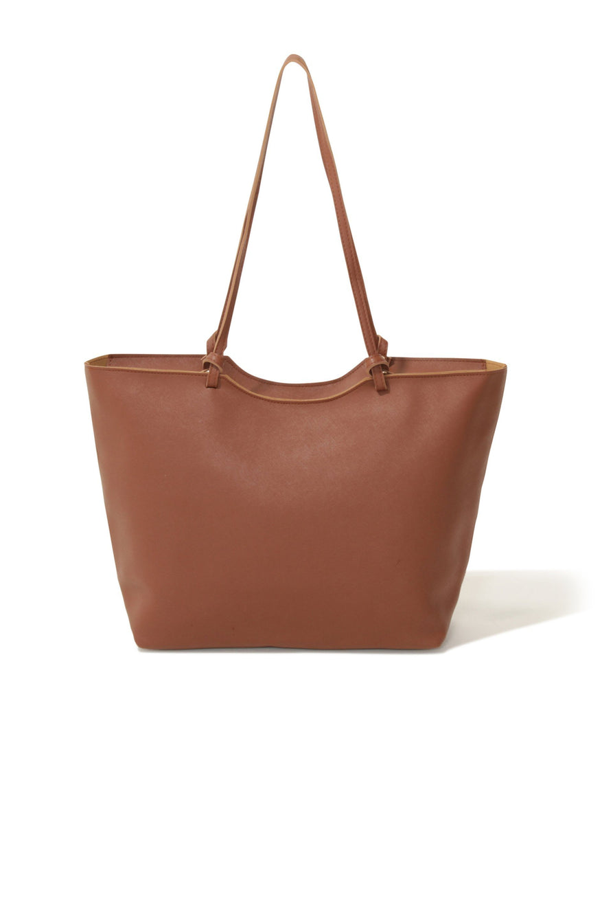 Tan Contrast Shopper Bag