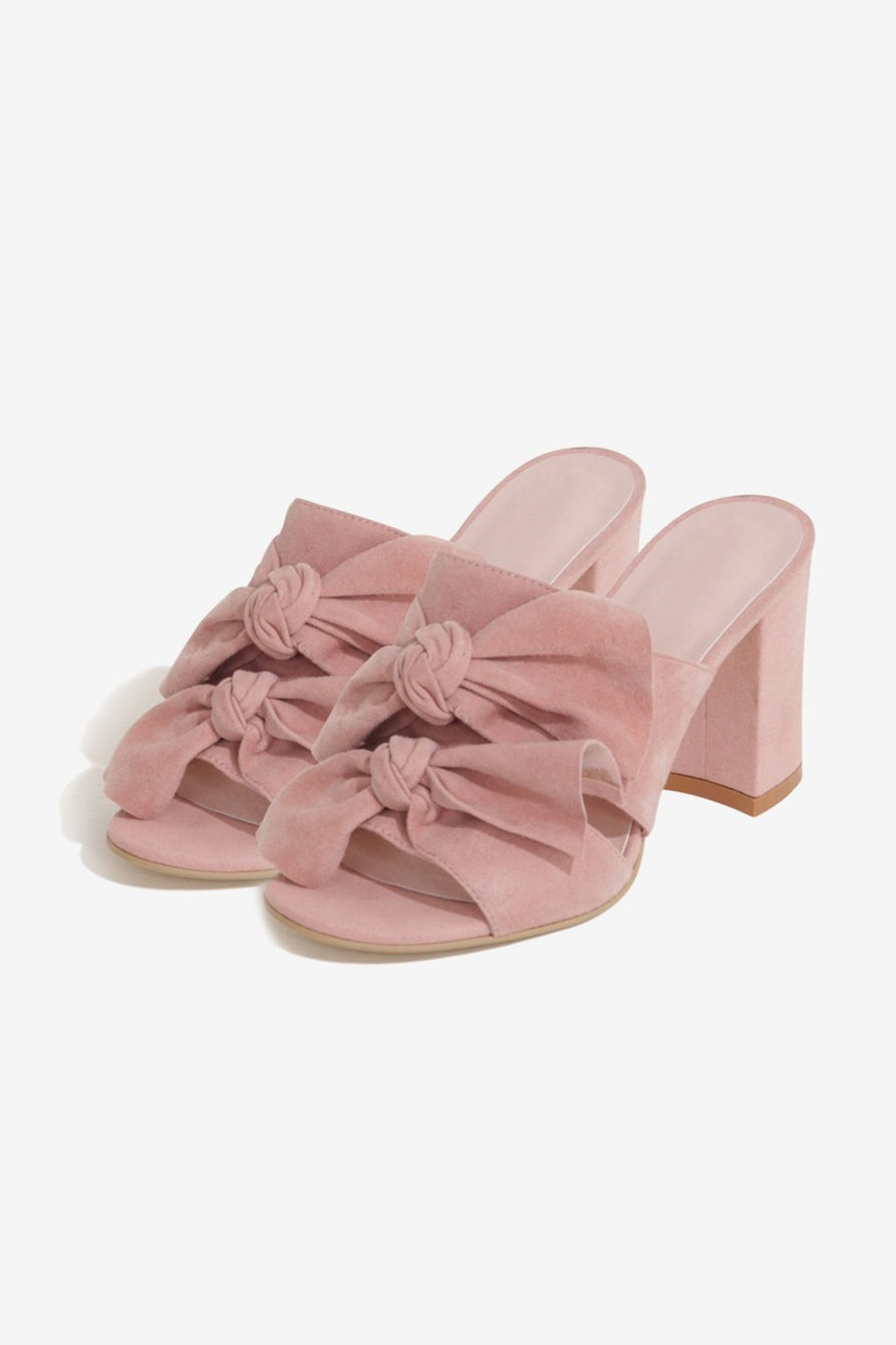 Double Knot Mules in Rose Suede