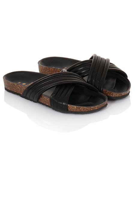 Black Leather Crossover Cork Bed Sliders