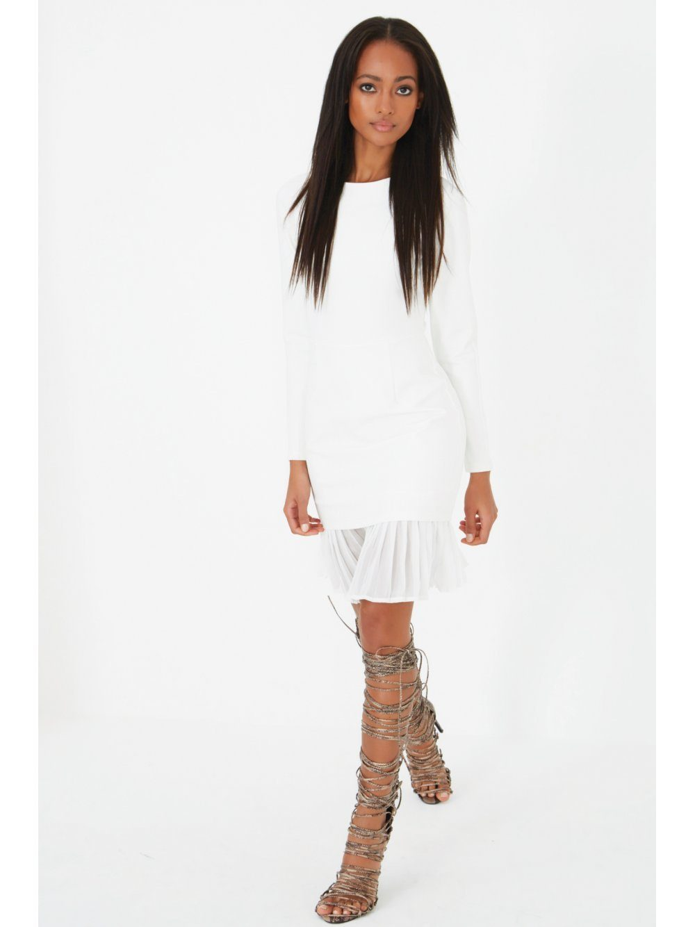White Pleated Chiffon Hem Mini Dress