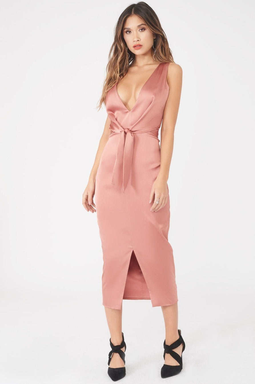 Satin Knot Front Midi Dress