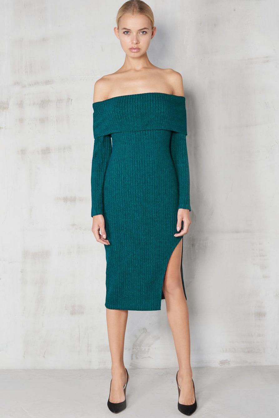 Teal Rib Knit Bandeau Asymmetric Hem Midi Dress