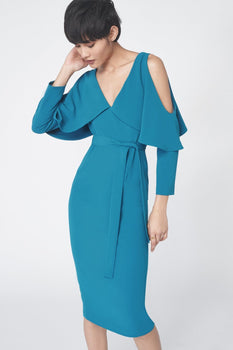 Drop Sleeve Midi Dress in Teal