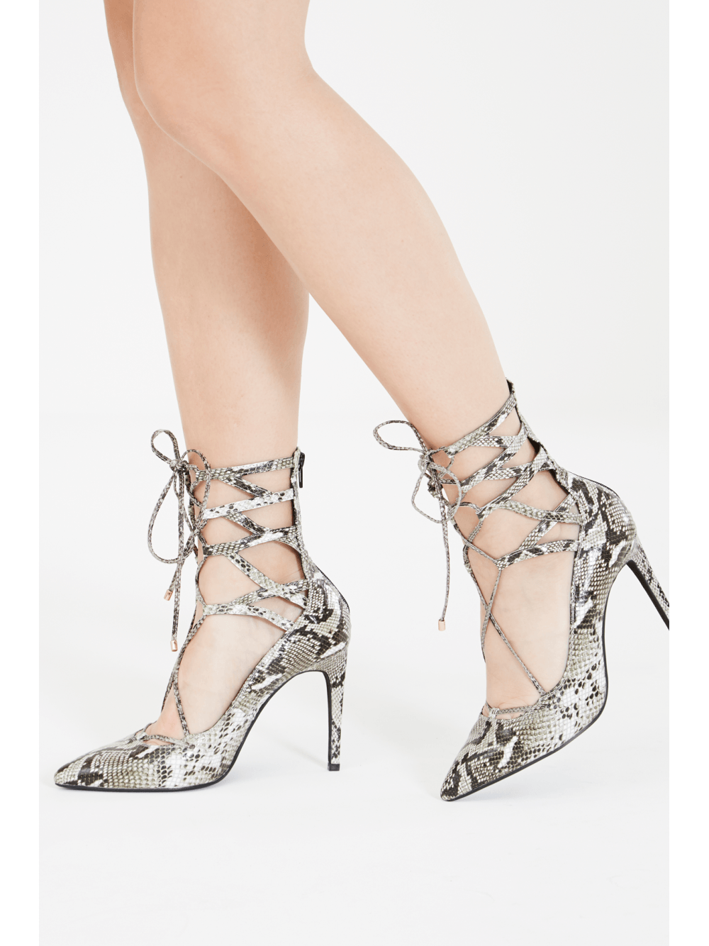 HIERRO Grey Snakeskin Leather Lace Up Court Shoe