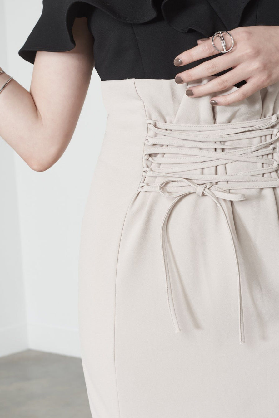 Double Split Lace Up Skirt in Soft Nude