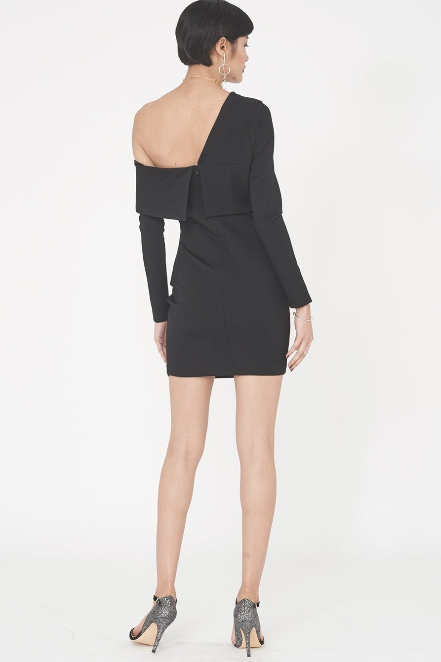 Ponte Asymmetric Mini Dress in Black