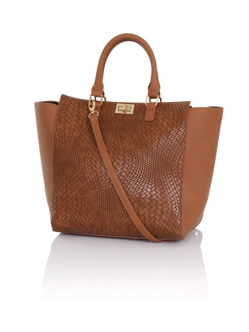 Tan Weave Detail Tote Bag