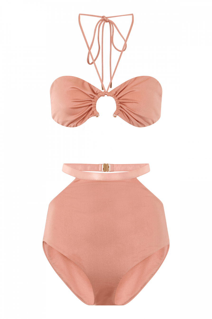 Dusky Rose Open Ring Detail Bandeau Bikini Top