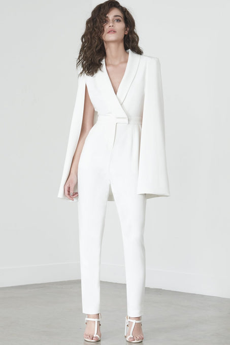 Caped Jumpsuit in White