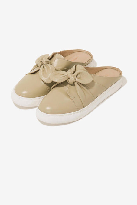 Knot-Top Sneaker Mules in Sand Leather