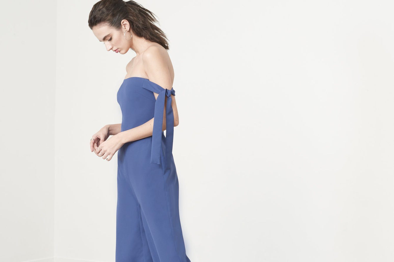 Tie Sleeve Strapless Jumpsuit in Washed Indigo