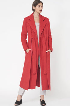 Brushed Wool Tie Front Duster Coat in Red