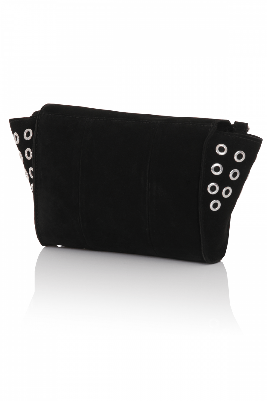 Black Suede Winged Eyelet Cross Body Mini Bag