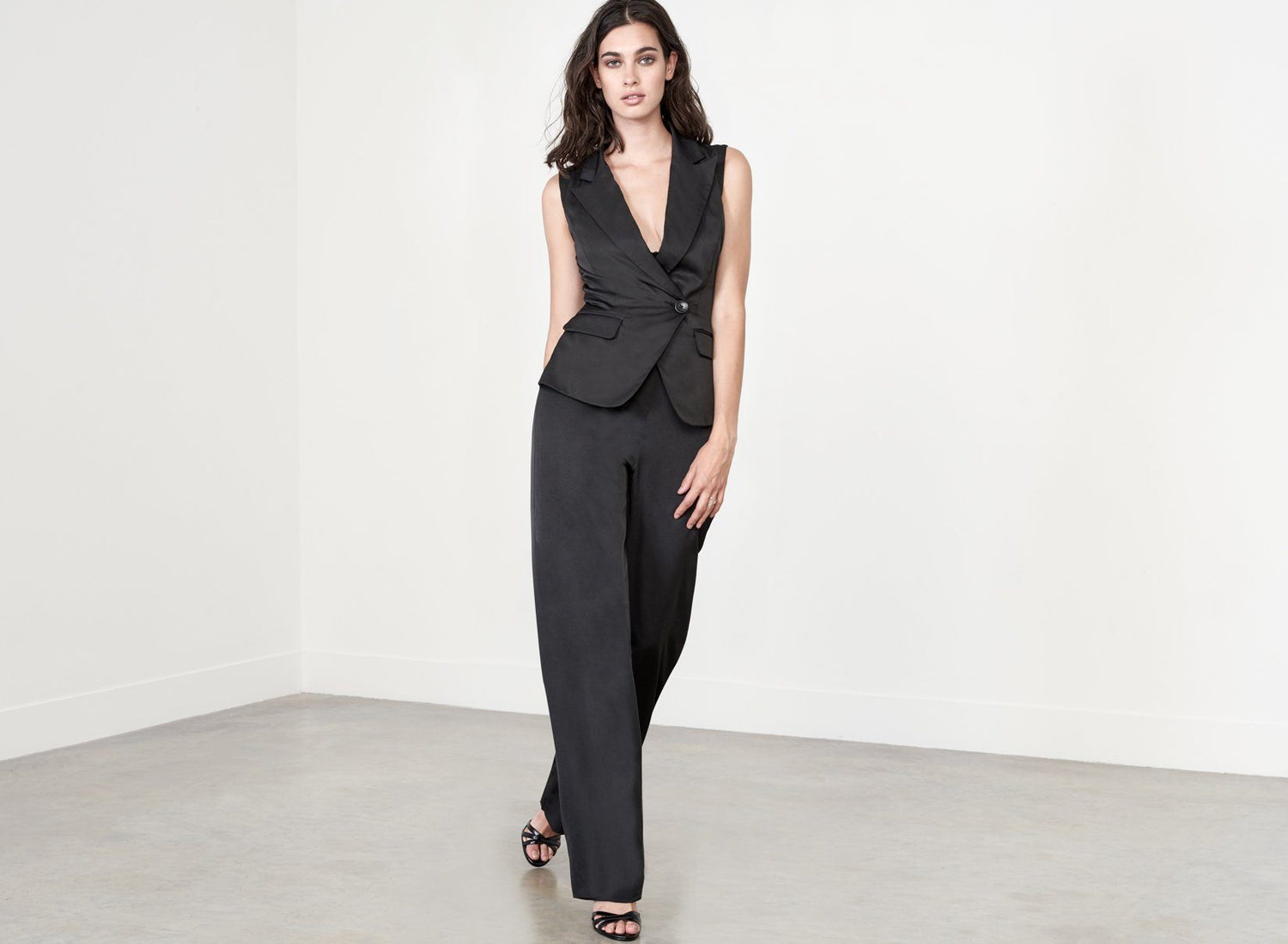 Sleeveless Sartorial Jumpsuit in Black