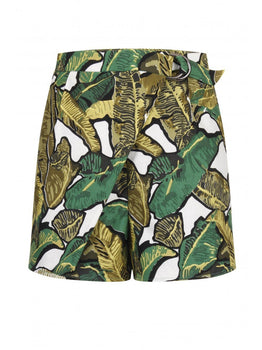 Banana Leaf Print Crossover D-Ring Shorts
