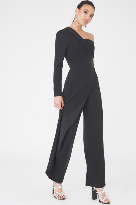 Off the Shoulder Wide Leg Jumpsuit in Black