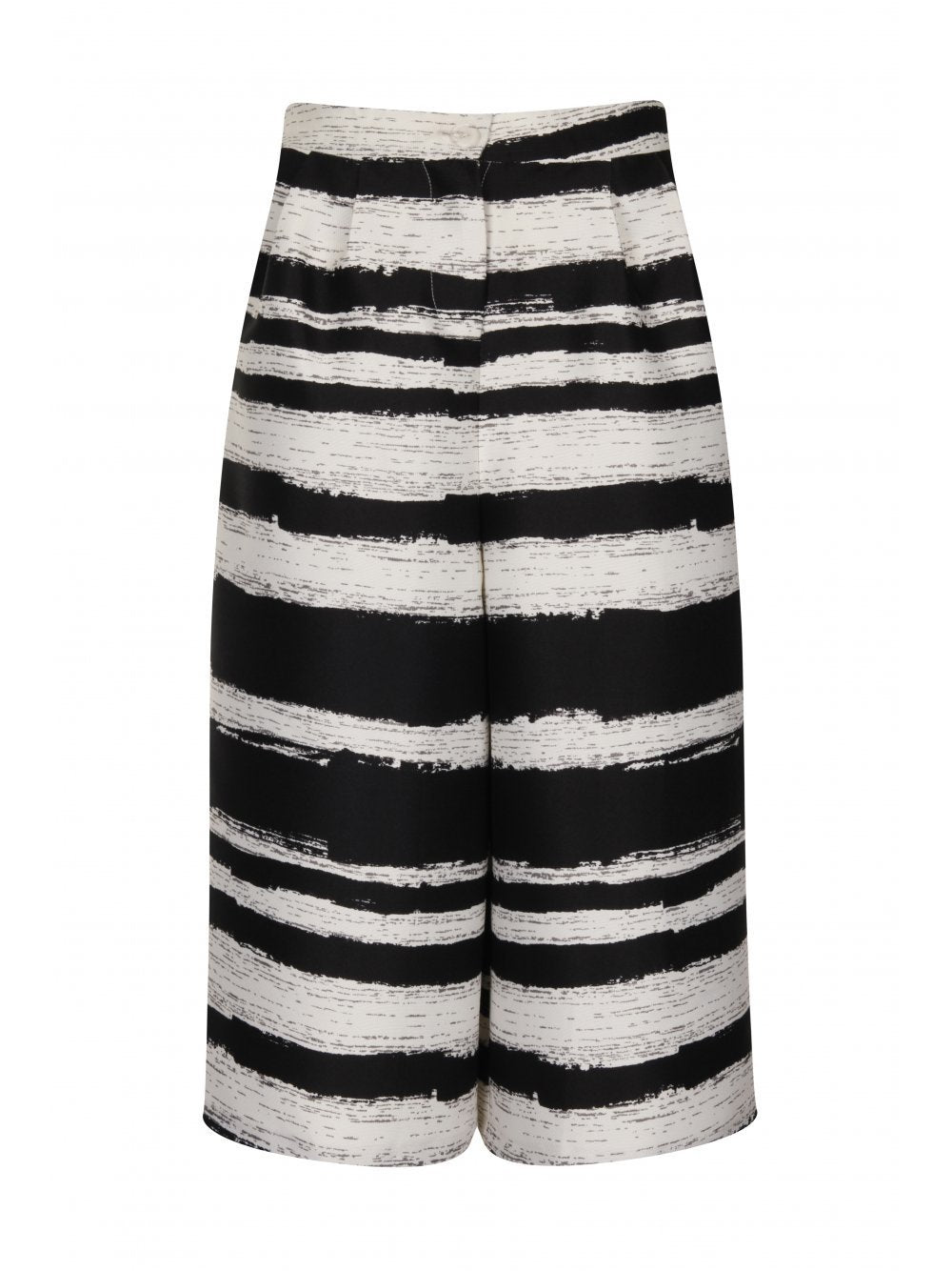 Black & White Distorted Stripe Print Wide Leg Culottes
