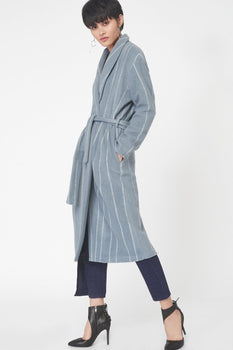Striped Wool Robe Coat in Powder Blue