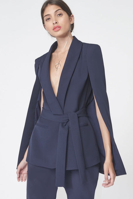 Tie Waist Tailored Cape Blazer in Navy