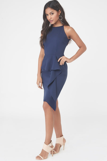 Woven Mini Dress with Asymmetric Draped Peplum in Navy