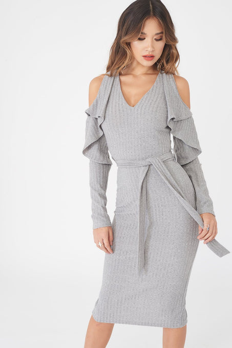 Cold Shoulder Folded Detail Rib Knit Dress in Grey