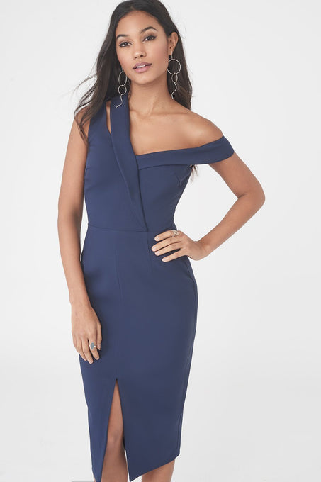 Woven Asymmetric Cut Out Midi Dress in Navy