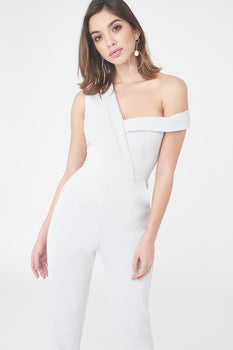 Asymmetric Cut Out Straight Leg Jumpsuit in Grey