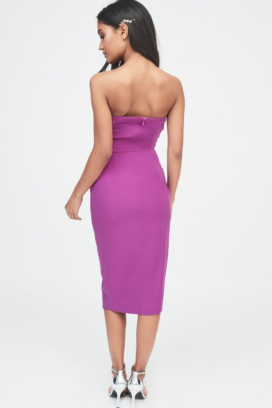 Asymmetric Bandeau Midi Dress