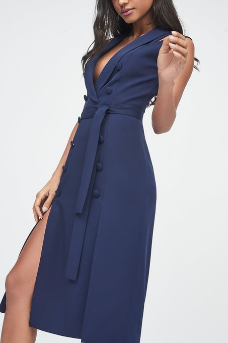 Sleeveless Tuxedo Midi Woven Dress with Double Split