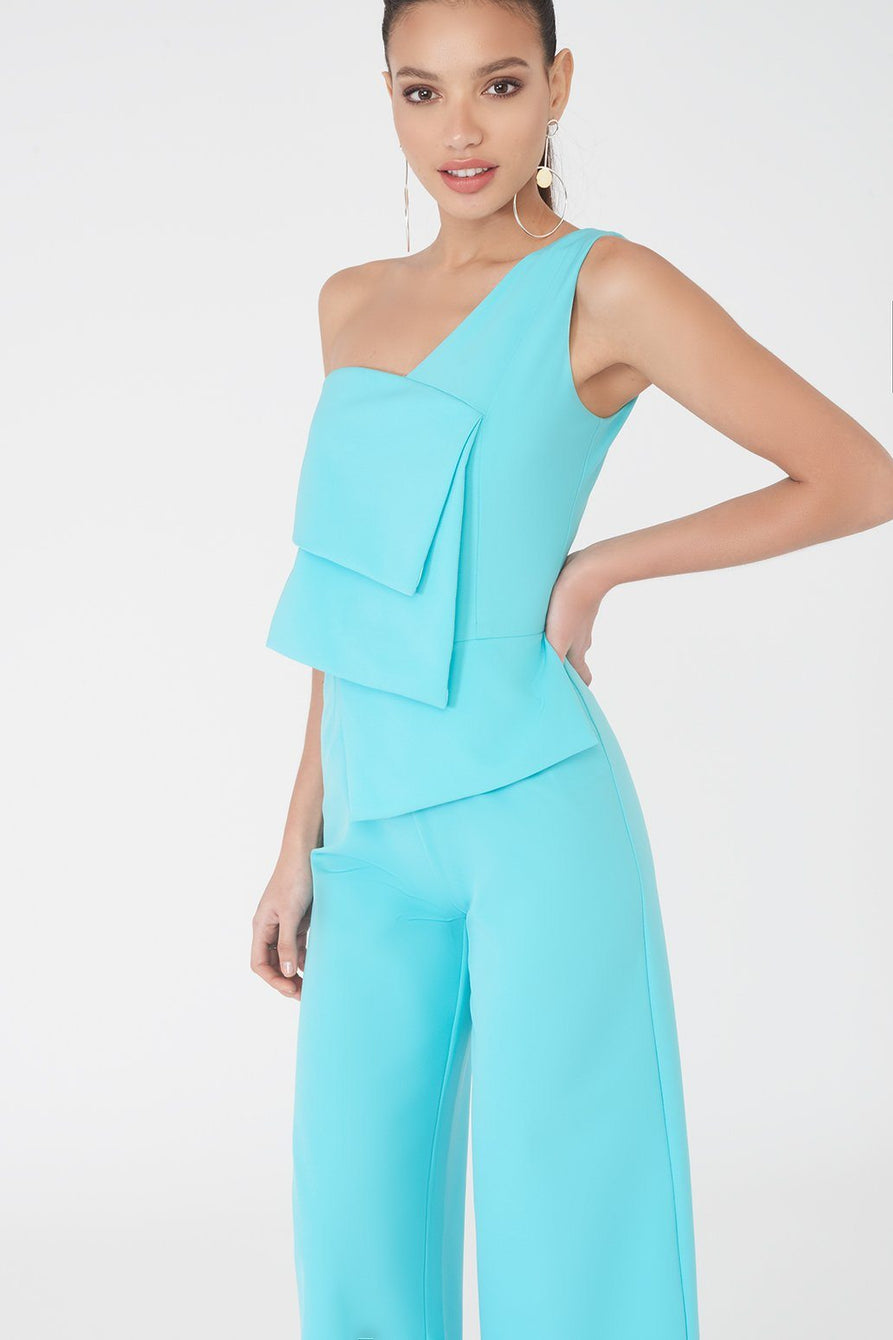 Layered One Shoulder Culotte Jumpsuit in Turquoise
