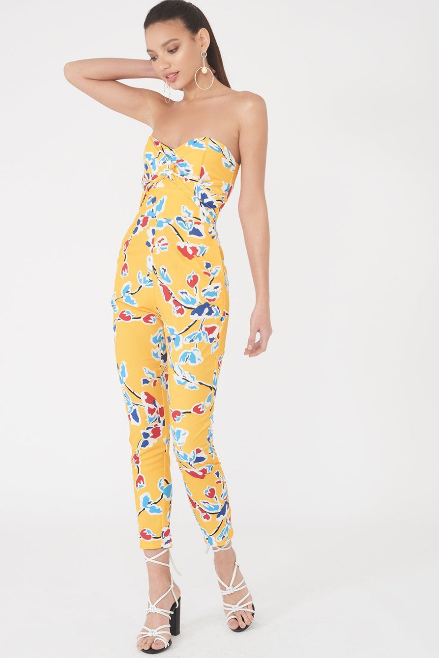Twisted Front Bandeau Jumpsuit in Yellow Floral