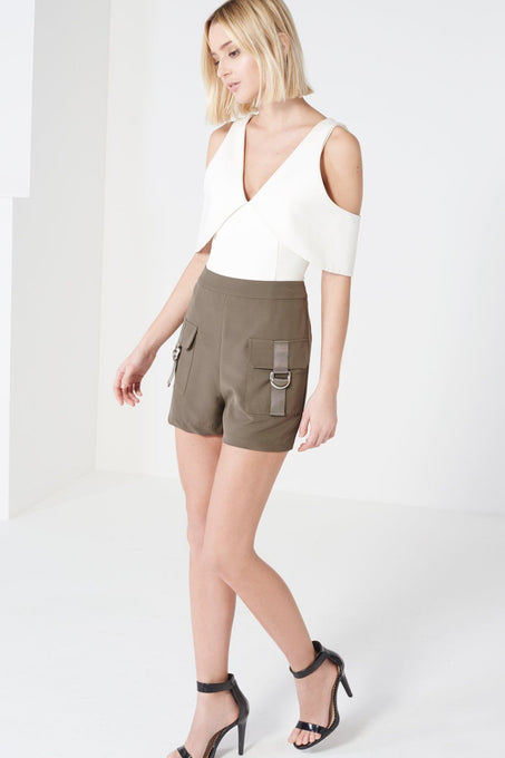 Khaki Cargo Pocket High Waist Shorts
