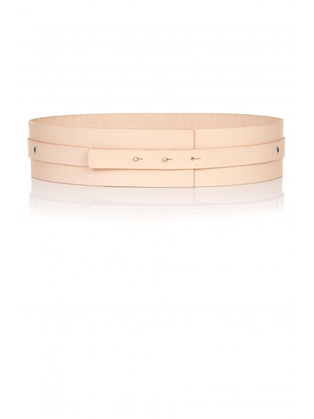 Nude Leather Strap Detail Waist Belt